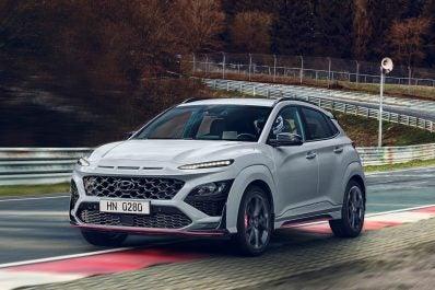 2022 Hyundai Kona N front driving