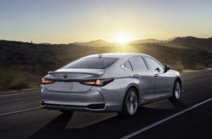2022 Lexus ES driving rear silver