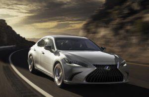 2022 Lexus ES driving front silver