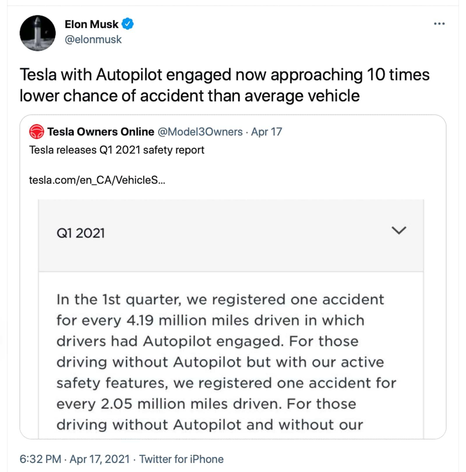Elon Autopilot stats tweet 2021