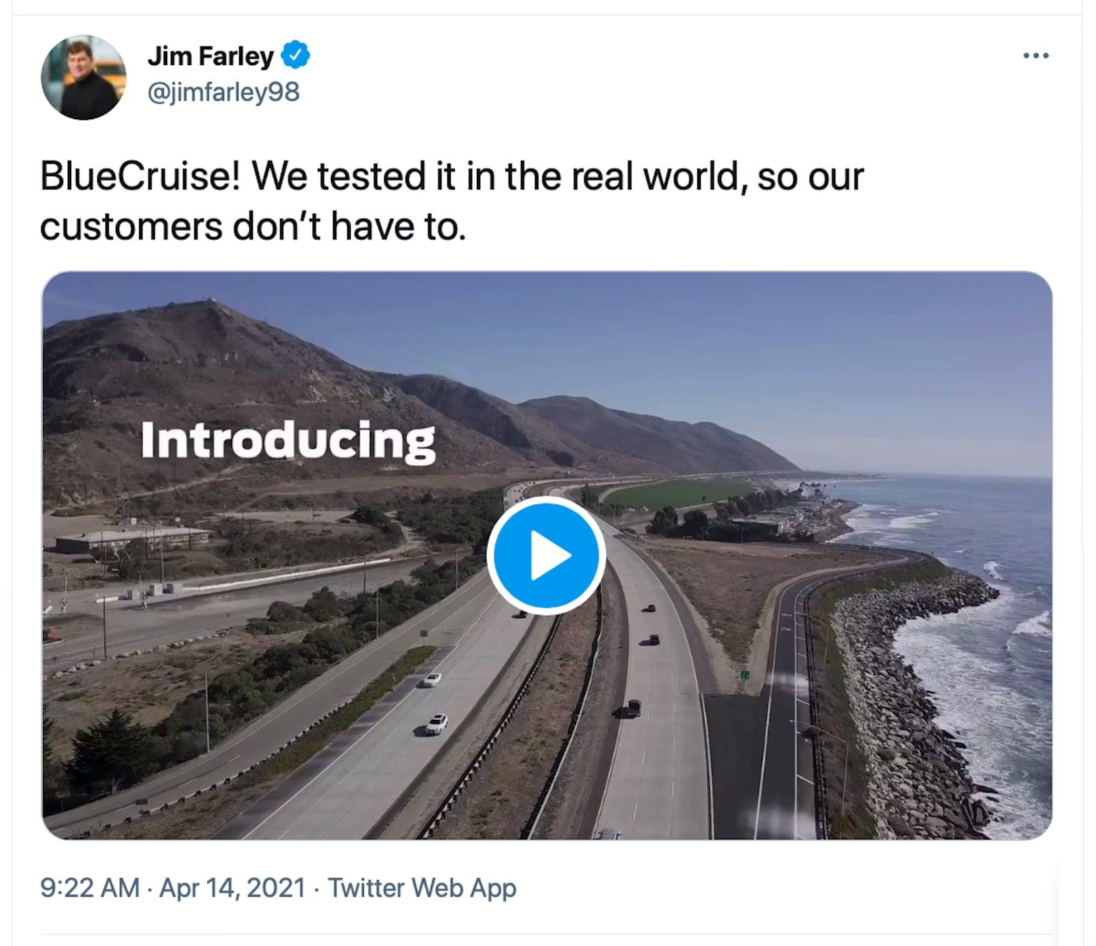 Farley BlueCruise tweet