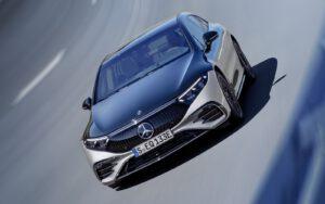 Mercedes EQS on the berm