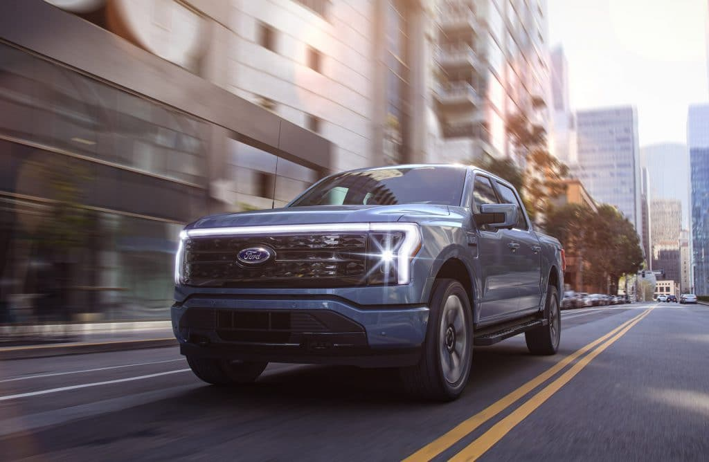 2022 Ford F-150 Lightning driving front