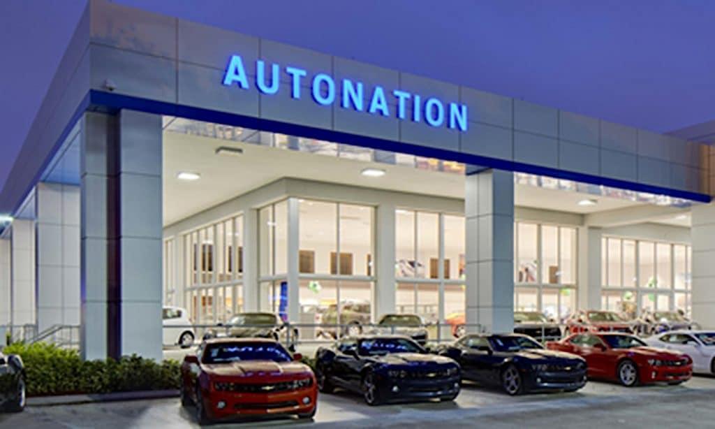 AutoNation store at night
