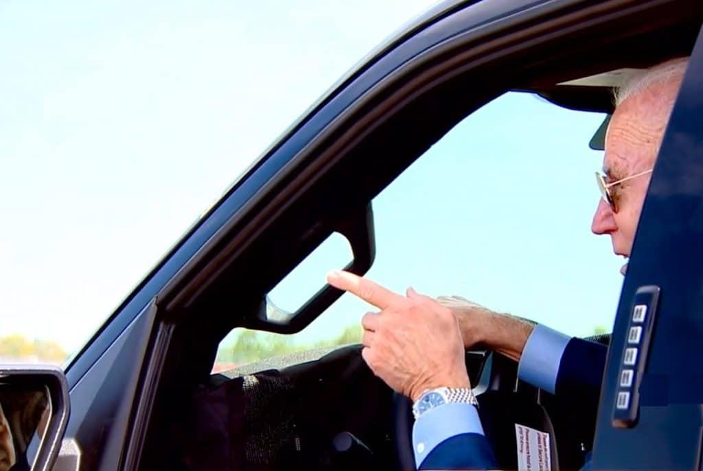 Biden behind the wheel