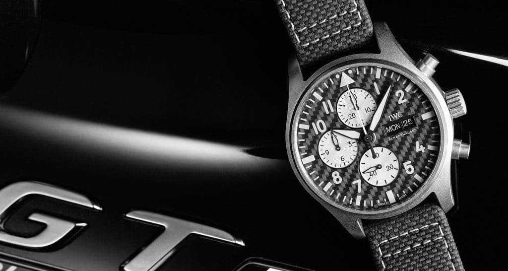 IWC AMG watch front black and white
