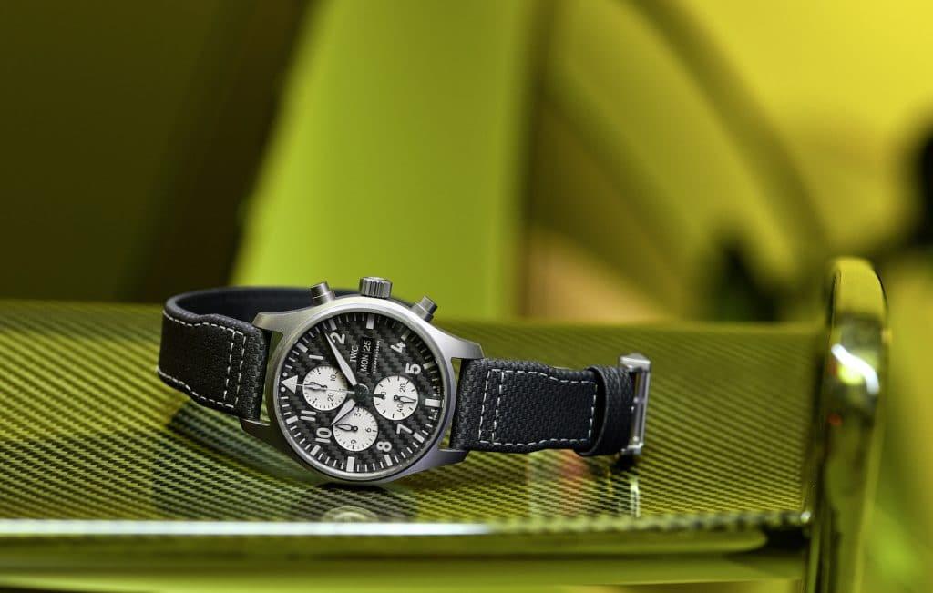 IWC Pilots Chronograph AMG watch on carbon fiber