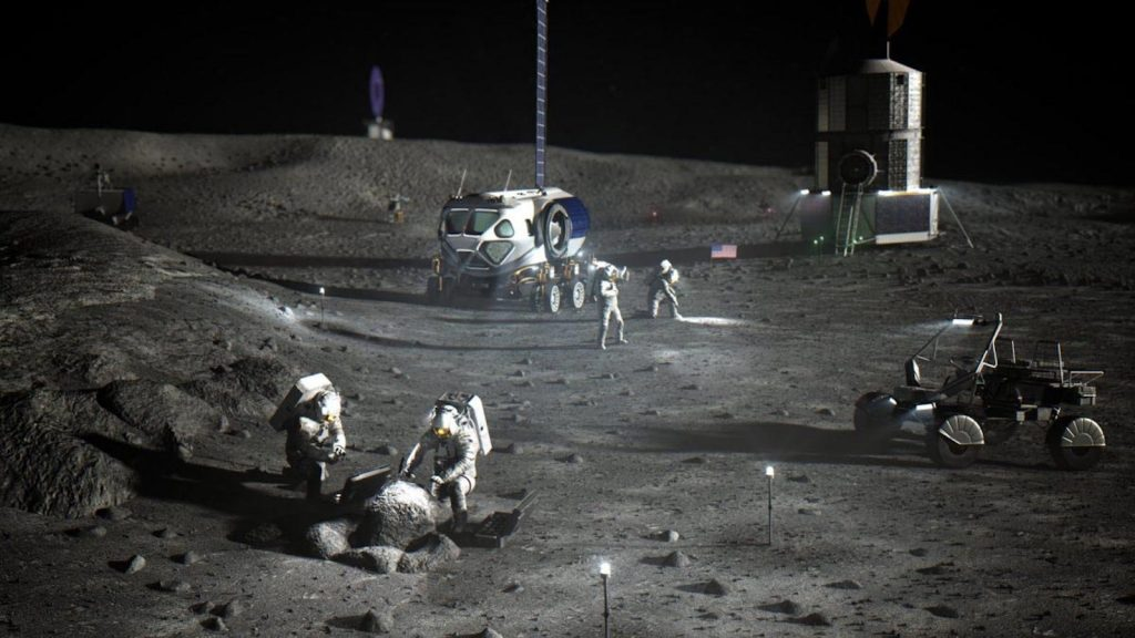 NASA astronauts at lunar South Pole