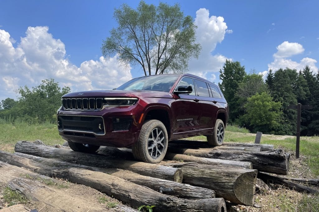 2022 Jeep Grand Cherokee L over logs