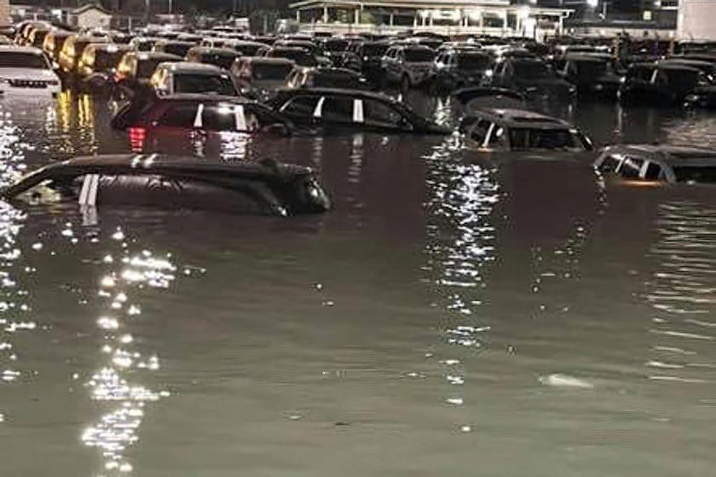Jeep marshalling lot flooded-focus