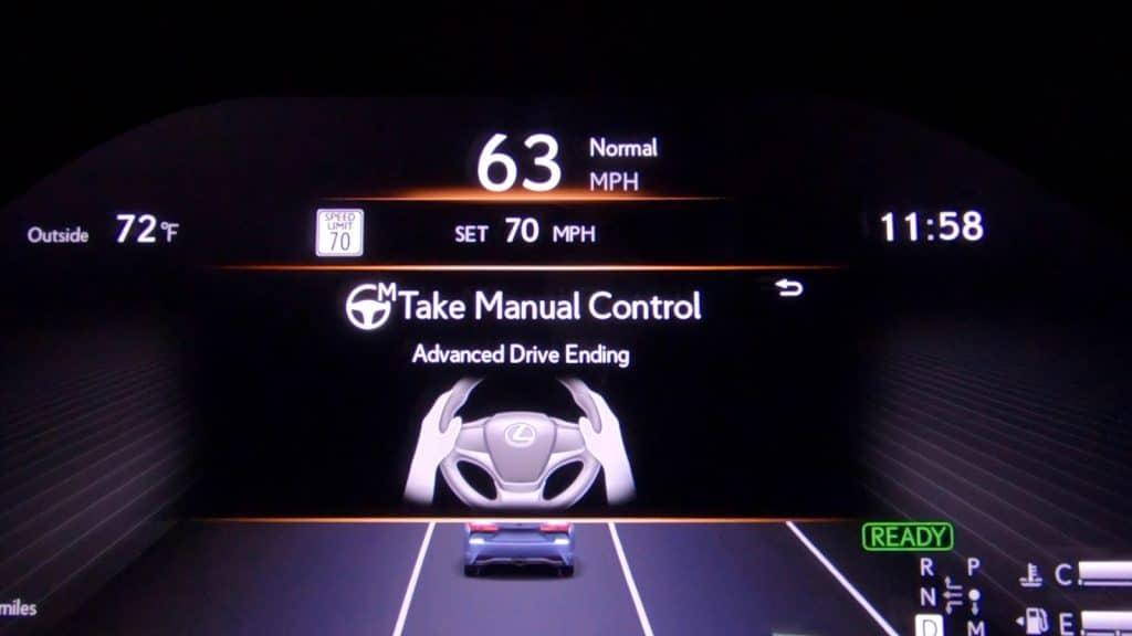 Toyota Teammate manual control warning