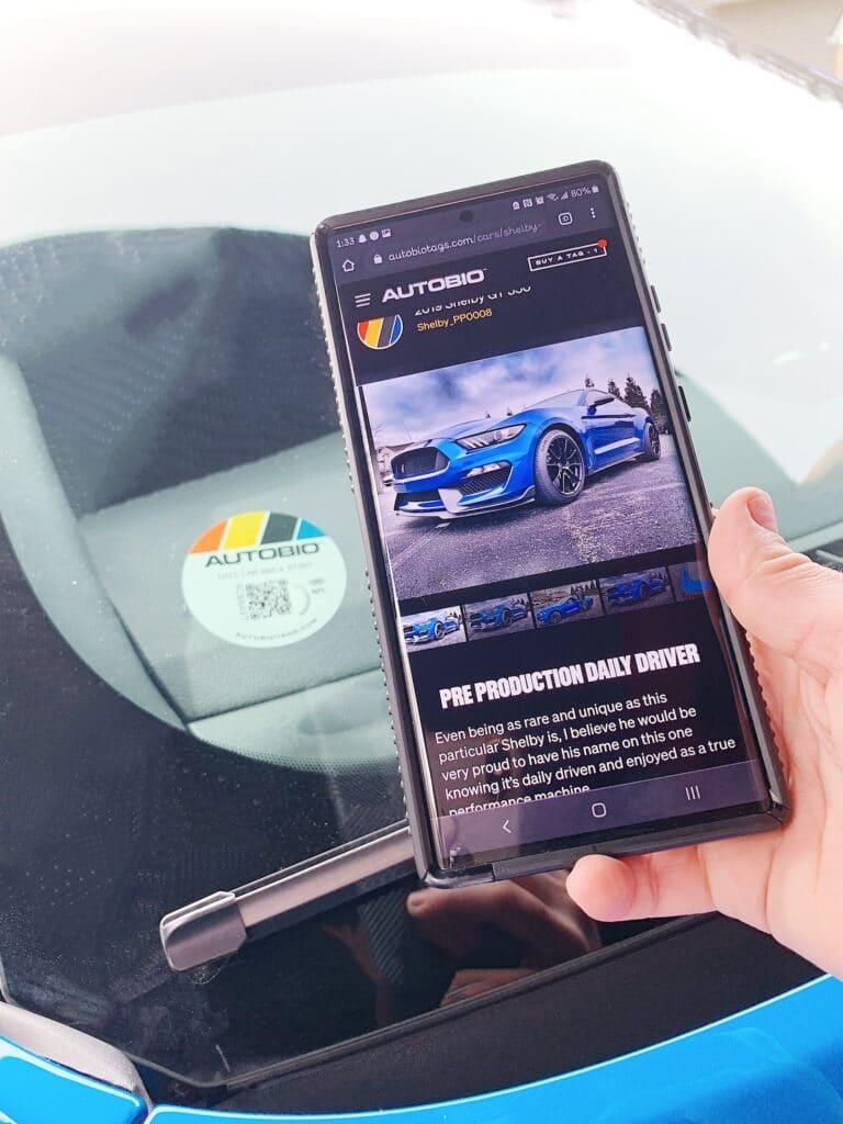 AutoBio sign on car and app vert