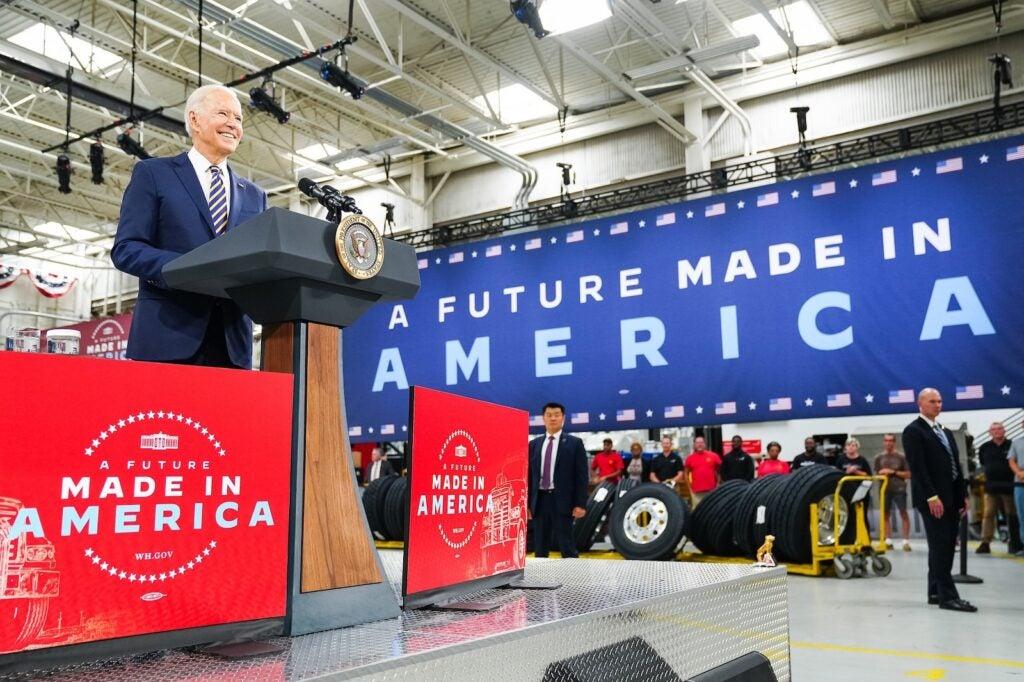 Biden at Pennsylvania Mack Truck plant July 2021