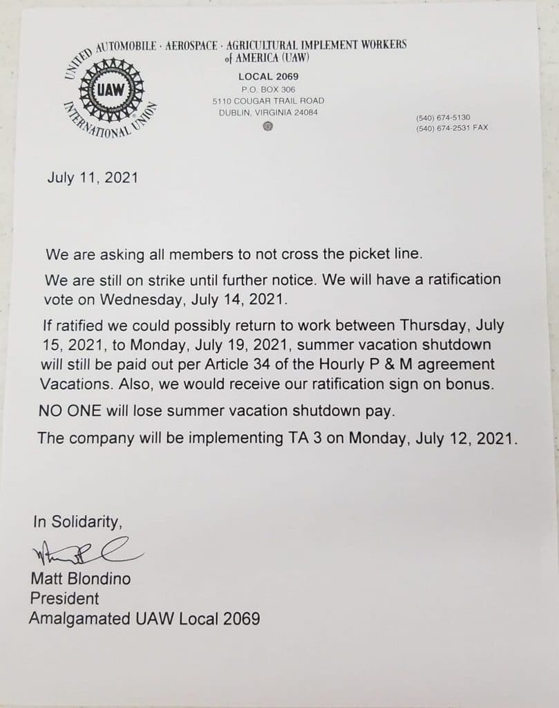 UAW Local 2069 letter