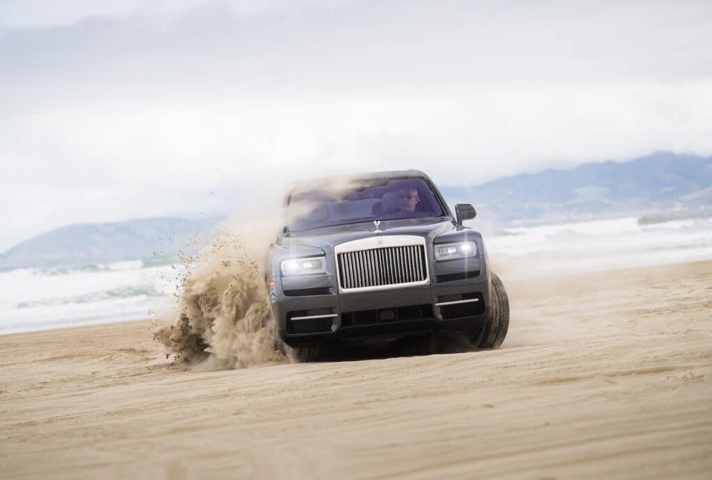 2021 Rolls-Royce Cullinan throwing sand at Pismo Beach