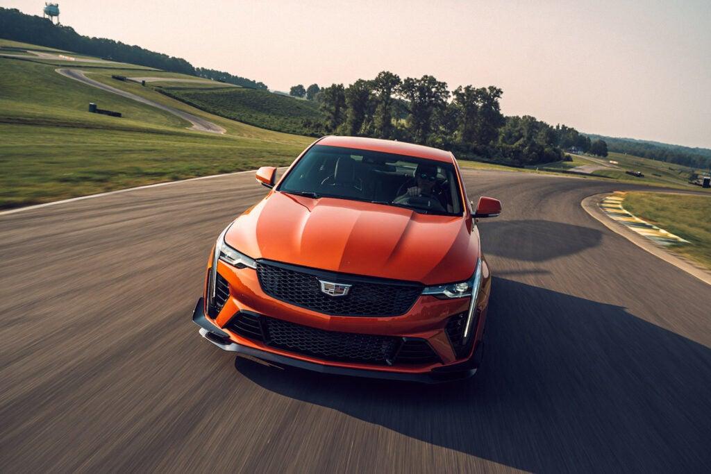 2022 Cadillac CT4-V Blackwing orange driving