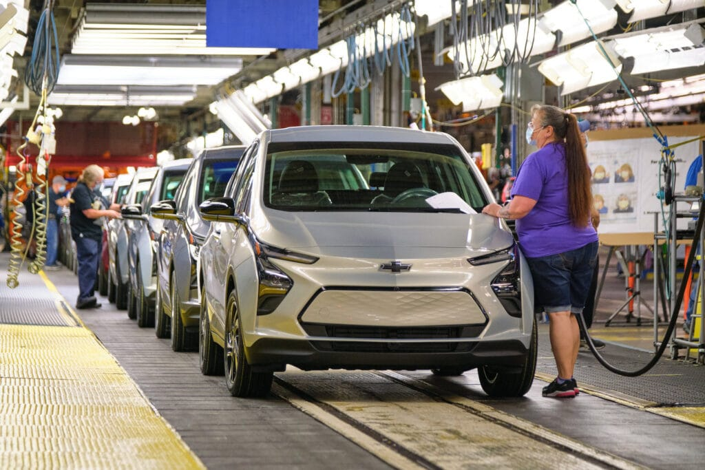 2022 Chevy Bolt inspection line at Orion plant