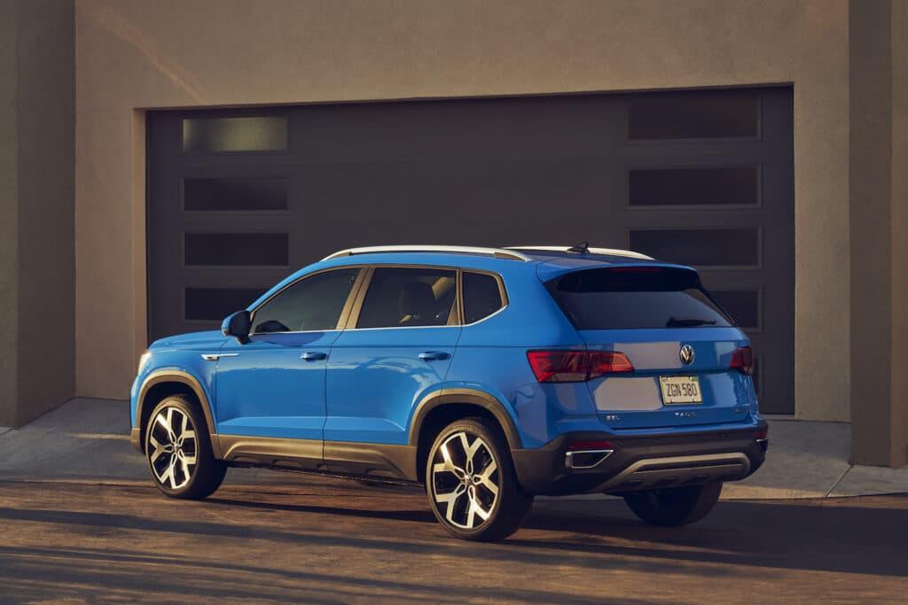 2022 VW Taos SEL rear blue