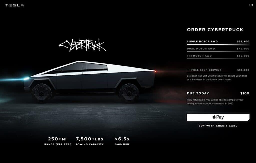 Cybertruck webpage