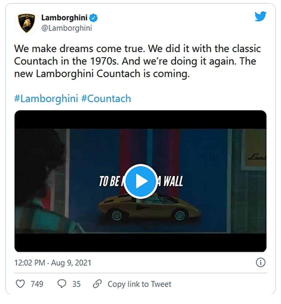 Lamborghini Countach Return Tweet