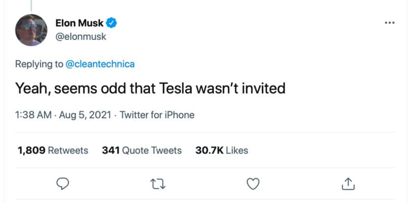 Musk no invite from White House tweet