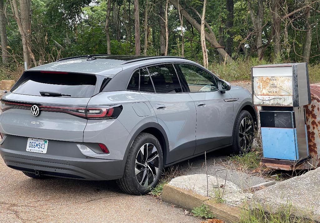 2021 Volkswagen ID4 AWD ProS - 3-4 rear by old gas pump