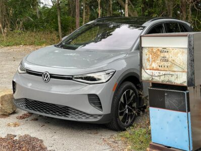2021 Volkswagen ID4 AWD ProS - nose by old gas pump