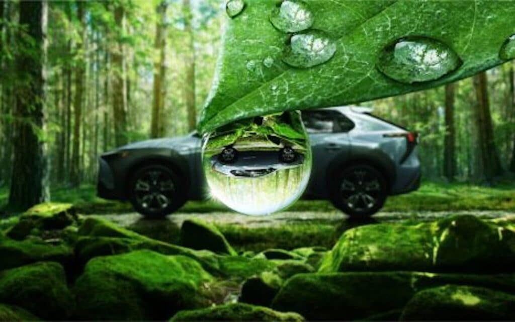 Subaru Solterra raindrup rightside up