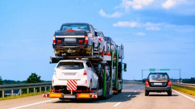 Cars carrier truck on highway