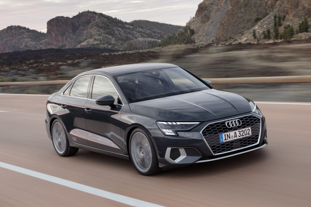 2022 Audi A3 grey front driving