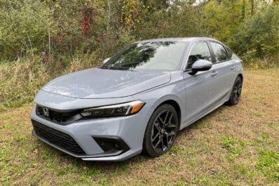 2022 Honda Civic hatch front bluish