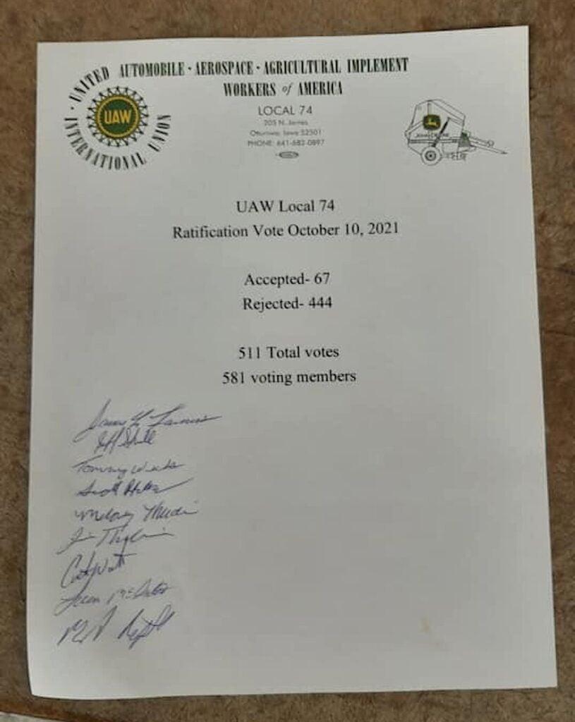 UAW Local 74 John Deere vote count